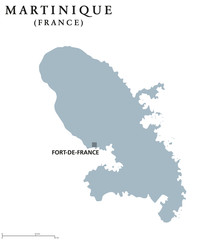 Martinique political map with capital Fort-de-France. Caribbean islands and overseas region of France in Lesser Antilles and Windward Islands. Gray illustration over white. English labeling. Vector.