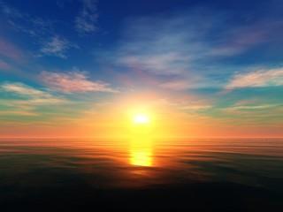 Beautiful sunset on the sea, sea sunrise, light over the ocean, 3d rendering