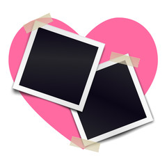 Two retro photorealistic photo frame sticked on duct tape to heart background. Template for design. Vector illustration.
