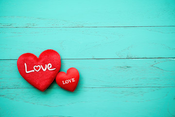Love hearts on wooden background concept valentine day