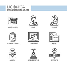 Mass Media - monochromatic modern single line icons set