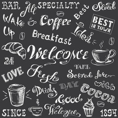 Collection - Coffee lettering and elements,hand drawn white on blackboard