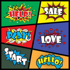 Comic art speech bubble with expressions stickers set,