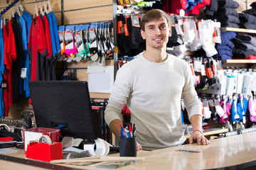 Cashier in the clothing shop