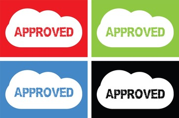 APPROVED text, on cloud bubble sign.