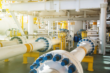valve and pipe line in oil and gas platform offshore in gulf of thailand