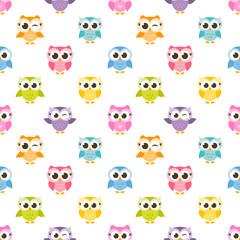 pattern with colorful funny owls