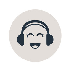 Icono plano auriculares con risa kawaii en circulo gris