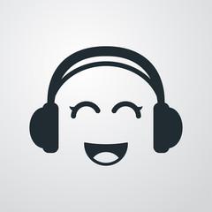 Icono plano auriculares con risa kawaii en fondo degradado