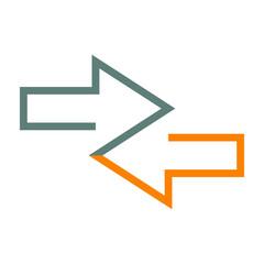 Icono plano flechas dos direcciones gris y naranja en fondo blanco