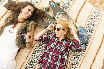 Girls lying on the skates