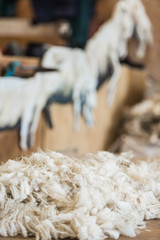 close up view of wool sheepskin