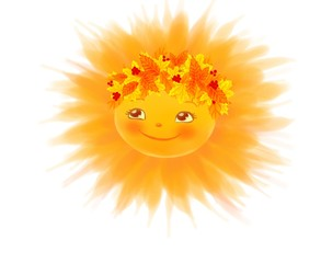 Sun face smiling.Hand drawn illustration.