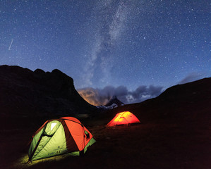 Camping on the shores of Lake Stellisee under the stars and Milky Way  Zermatt Canton of Valais Switzerland Europe