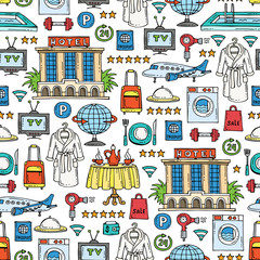 Pattern with hand drawn colored symbols of hotel. Pattern on the theme of recreation, travel,tourism