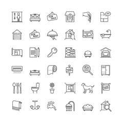 Real estate related vector outline icons set