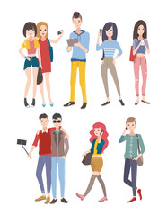 Set young people, guys and girls, communicating by phone and other gadgets. Colorful flat illustration.