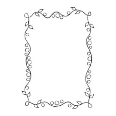 Frame with Floral Ornament Isolated Illustration