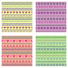 Set of seamless vector patterns. Colorful geometrical endless backgrounds with hand drawn geometric shapes, triangles, circles, dots, lines, Simple graphic design. Repeat decorative ornament.
