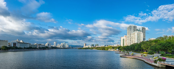Panoramic view of Lichun river in sunny day. Sanya city on Hainan Island of China