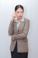 young businesswoman thinking.