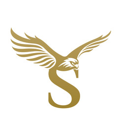 Logo Letter S Golden Wing Hawk Icon