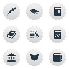 Vector Illustration Set Of Simple Knowledge Icons. Elements Notebook, Notebook, Plume And Other Synonyms Notepad, Book And Bookshelf.