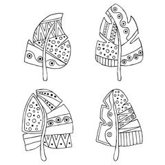 Set of vector hand drawn decorative stylized black and white childish feather. Doodle style, graphic illustration. Ornamental cute line drawing. Series of doodle, cartoon, sketch illustrations.