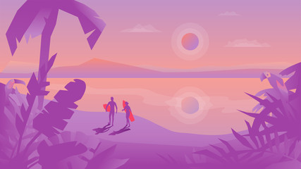Flat design vector landscape with surfers couple with the surfboards on the beach