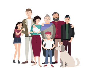 Big family portrait. Happy people with relatives. Colorful flat illustration.