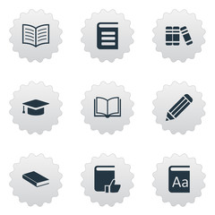 Vector Illustration Set Of Simple Reading Icons. Elements Encyclopedia, Book Page, Recommended Reading And Other Synonyms Notebook, Dictionary And Alphabet.