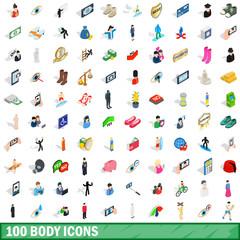 100 body icons set, isometric 3d style