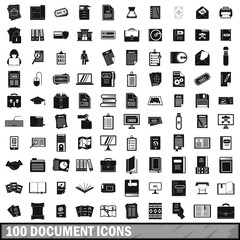 100 document icons set, simple style