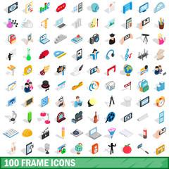 100 frame icons set, isometric 3d style