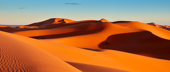 Aluminium Prints Orange Glow Sand dunes in the Sahara Desert, Merzouga, Morocco
