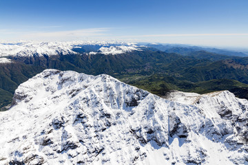 Aerial view of the snowy ridges of the Grignone mountain and Valsassina Lecco Province Lombardy Italy Europe