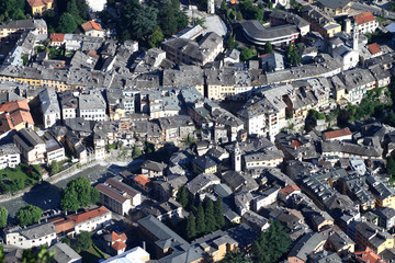 Aerial view of the town center of Chiavenna chief town of Valchiavenna. Lombardy. Italy. Europe.