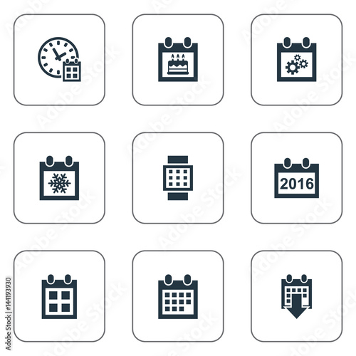 Vector Illustration Set Of Simple Plan Icons Elements Intelligent Hour Reminder Almanac And