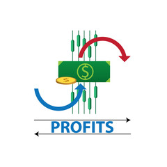 growth and declining chart showing improvement and losses of profit with arrow. vector illustration