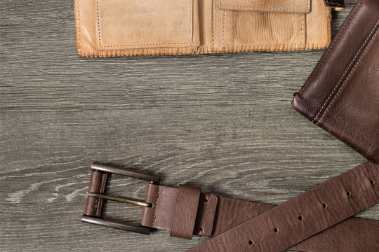 Men's accessories with brown leather wallet, belt