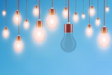 Außenseiter Konzept mit Glühbirnen