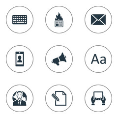 Vector Illustration Set Of Simple Newspaper Icons. Elements Document, Gazette, Loudspeaker And Other Synonyms Profile, Missive And Tablet.