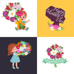 Set of Happy mothers day cards with greeting text and kids, baby boy and girl with bouqkuet of flowers in flat style, lettering mom celebration poster background design vector illustration