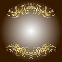 Brown background with a graceful golden floral pattern