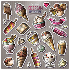 Set of Ice Cream cartoon stickers