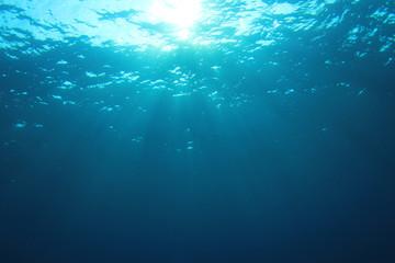 Underwater blue ocean background with sunlight