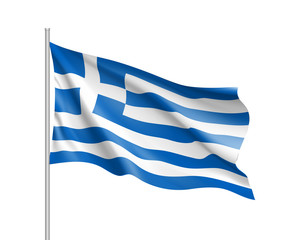 National flag of Greece country. Patriotic sign in official greek colors: white and blue. Symbol of Sounhern European state. Vector icon illustration