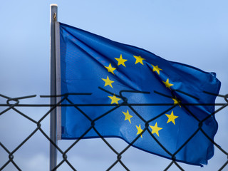 EU Flag and fence, concept picture