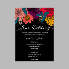 Wedding invitation with beautiful flowers zinnia chrysanthemum