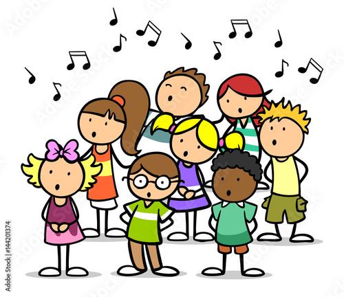 """Cartoon Kinder singen im Chor in Musikschule"" Stockfotos ..."